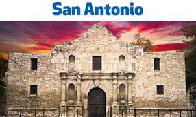 San Antonio, TX - The Alamo with striking sunset background